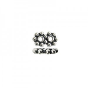 6mm Beaded Rondelle X 2-Row Spacer Bali Style Sterling Silver 20pcs