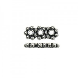 6mm Rondelle X 3-Row Spacer Bali Style Sterling Silver 20pcs