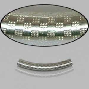 3x25mm Sterling Silver Noodle Tube Checkers 10pcs