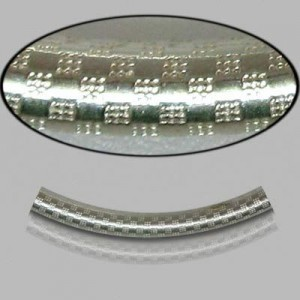 3x30mm Sterling Silver Noodle Tube Checkers 10pcs