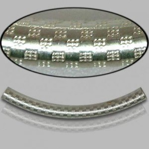 3x35mm Sterling Silver Noodle Tube Checkers 10pcs