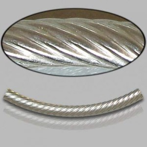 3x35mm Sterling Silver Noodle Tube Spiral 10pcs