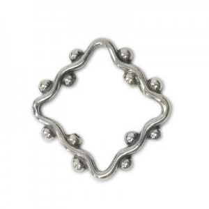 17mm Beaded Wavy Square Bead Frame for Up To 10mm Bead Sterling Silver .925 5 Pcs