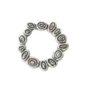 17mm Round Squiggles Bead Frame for Up To 8mm Bead Sterling Silver .925 5 Pcs