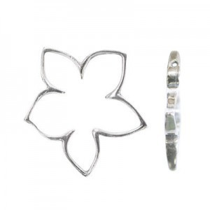 21x20mm Five Leaf Flower Bead Frame for Up To 6mm Bead Sterling Silver .925 5pcs