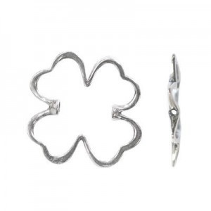 24x23mm Four Leaf Clover Bead Frame for Up To 8mm Bead Sterling Silver .925 5pcs