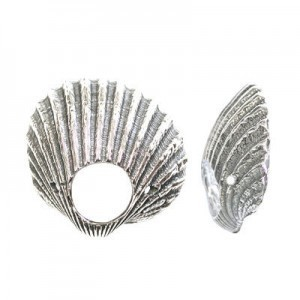22mm Seashell Bead Frame for Up To 6mm Bead Sterling Silver .925 5pcs