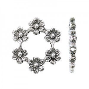 17x20mm 6 Daisies Bead Frame for Up To 6mm Bead Sterling Silver .925 5pcs