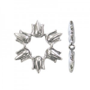 17x19mm 6 Tulips Bead Frame for Up To 5mm Bead Sterling Silver .925 5pcs