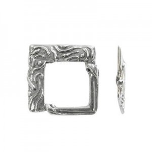 22x23mm Square Bead Frame for Up To 10mm Bead Sterling Silver .925 5pcs
