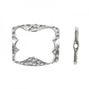 15x14mm Rectangle W/ Butterfly Cutout Bead Frame for Up To 8x6mm Bead Sterling Silver .925 5pcs