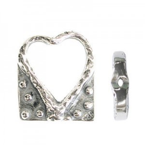 14x12mm Heart Bead Frame for Up To 6mm Bead Sterling Silver .925 5pcs