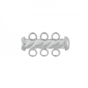 4.3x22mm Twist Tube Clasp 3 Row Sterling Silver .925 5pcs