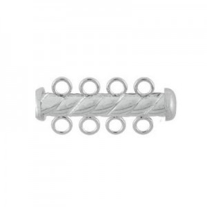 4.3x26mm Twist Tube Clasp 4 Row Sterling Silver .925 5pcs