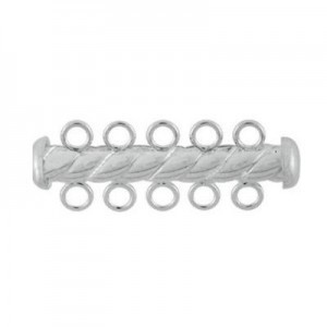 4.3x32mm Twist Tube Clasp 5 Row Sterling Silver .925 5pcs