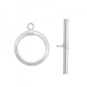 2x15mm Round Toggle Ring & 2x24mm Bar Set Sterling Silver .925 10sets
