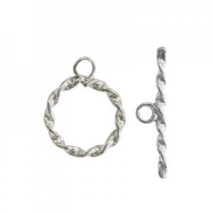 12mm Twisted Ring + 21mm Twisted Toggle Bar Set Sterling Silver .925 10pcs