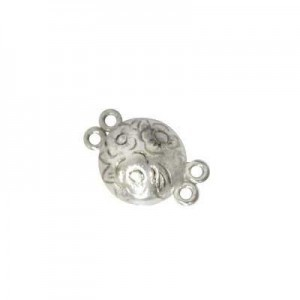 12mm 2 Row Round Magnetic Clasp W/ Engraved Flowers Sterling Silver .925 1 Set