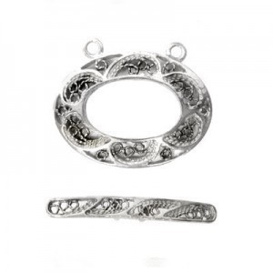 24x18mm Filigree Oval Ring 2-Row + 29mm Filigree Toggle Bar 2-Row Set Sterling Silver .925 2 Sets