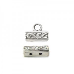 11x4mm 2 Row Patterned End Bar W/ Ring Sterling Silver .925 12 Pcs