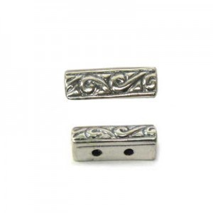 12x4mm 2 Row Spacer Sterling Silver .925 12 Pcs