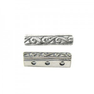 16x4mm 3 Row Spacer Sterling Silver .925 12 Pcs