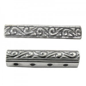 21x4mm 4 Row Spacer Sterling Silver .925 6 Pcs