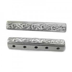 25x4mm 5 Row Spacer Sterling Silver .925 6 Pcs