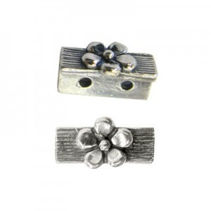 11mm 2 Row Spacer W/ 1 Daisy Sterling Silver .925 6 Pcs