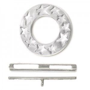 20mm Ring W/ Cutout Stars + 25mm Toggle Bar Set Sterling Silver .925 2 Sets