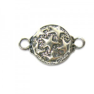 14mm Round Magnetic Clasp W/ Stars Sterling Silver .925 1 Set