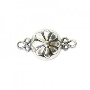 12mm Round Magnetic Clasp W/ Flower Sterling Silver .925 1 Set