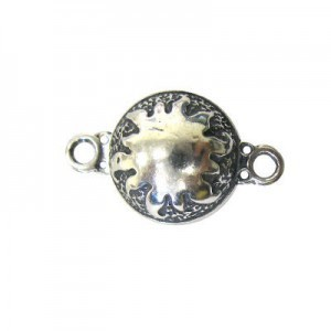 14mm Round Magnetic Clasp W/ Sun Sterling Silver .925 1 Set