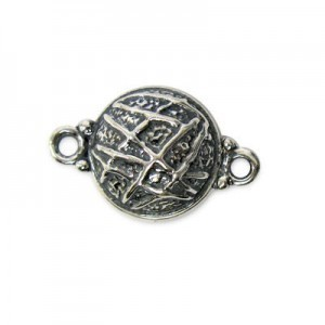 14mm Round Magnetic Clasp W/ Mesh Design Sterling Silver .925 1 Set