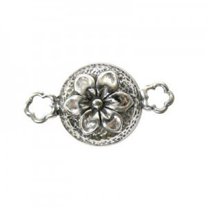 14mm Round Magnetic Clasp W/ Flower Sterling Silver .925 1 Set