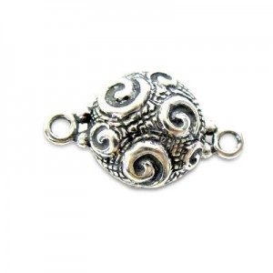 13mm Round Magnetic Clasp W/ Squiggle Design Sterling Silver .925 1 Set