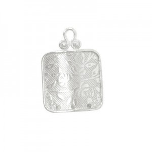 21x15mm 3 Hole Square Chandelier Earring Component W/ Flower Design Sterling Silver .925 10 Pcs