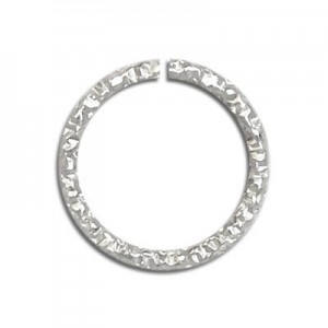 6.5mm (0.7mm Wire) Glitter Open Jump Ring Sterling Silver 50pcs