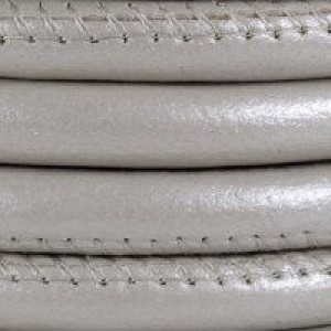 5mm Round Stitched Nappa Leather Cord Pearl - 1ft(0.3m) Retail Ready Card