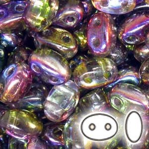 2.5x5mm SuperDuo™ (Smooth Outline) 2-Hole Magic Violet Green Czech Glass Beads - 100 Gram Bag