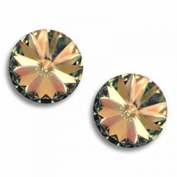 12mm Rivoli Crystal Golden Shadow Foiled Art. 1122 Swarovski® Austrian Crystal Stones