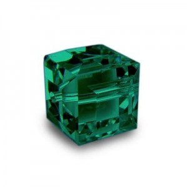 8mm Cube Emerald Art. 5601 Swarovski® Austrian Crystal Beads