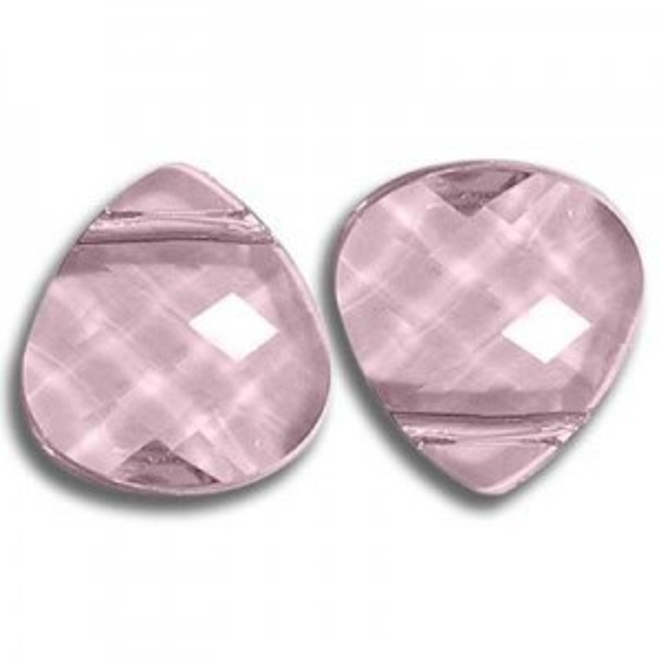 11x10mm Flat Briolette Light Rose Art. 6012 Swarovski® Austrian Crystal Pendants