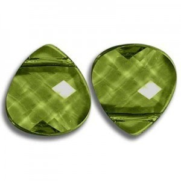 11x10mm Flat Briolette Olivine Art. 6012 Swarovski® Austrian Crystal Pendants