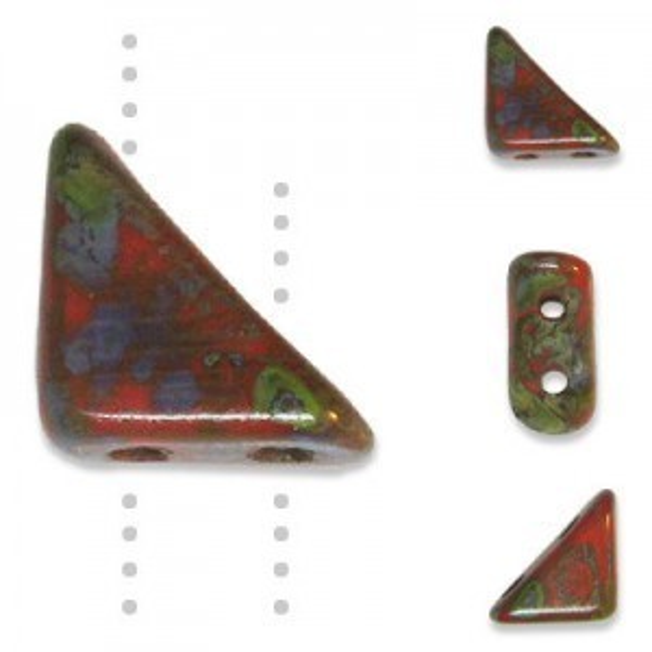 Tango™ Bead 2-Hole 6mm Coral Picasso - 50 Gram Bag (Apx 325 Pcs)