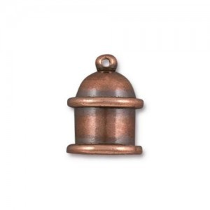 15.5x11.6mm Pagoda 8mm Id Cord End Antique Copper - Pkg of 10 TierraCast® Brass