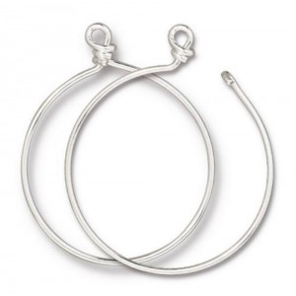 Charm Keeper Hoop 42mm inside diameter 15 gauge wire Silver Plate - Pkg of 6 TierraCast®