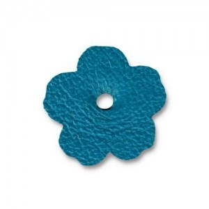 Leather 0.75 Inch Flower Turquoise - Pkg of 20 TierraCast® Brand