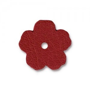 Leather 0.75 Inch Flower Red - Pkg of 20 TierraCast® Brand