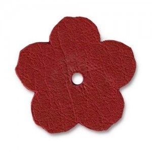 Leather 1 Inch Flower Red - Pkg of 20 TierraCast® Brand